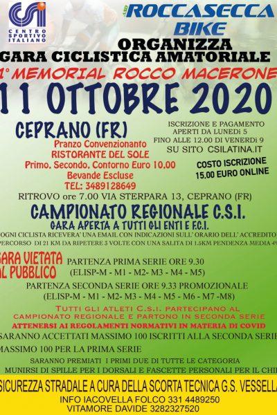 CAMPIONATO REGIONALE CSI – I MEMORIAL ROCCO MACERONI